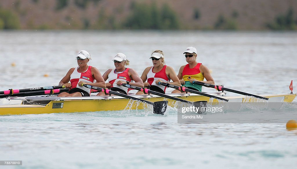 Georgina EversSwindell Caroline EversSwindell Fiona Paterson and Paula Twining compete during heat one of the Womens Premier coxless quad during the...