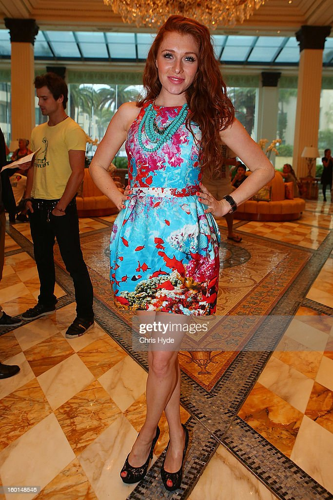 Georgina Fleur poses after arriving at the Versace hotel after spending two weeks in the Australian Outback on January 27, 2013 in Gold Coast, Australia. The German celebrities are participants in the 2013- RTL-TV-Show 'Dschungelcamp' - Ich bin ein Star - Holt mich hier raus!.