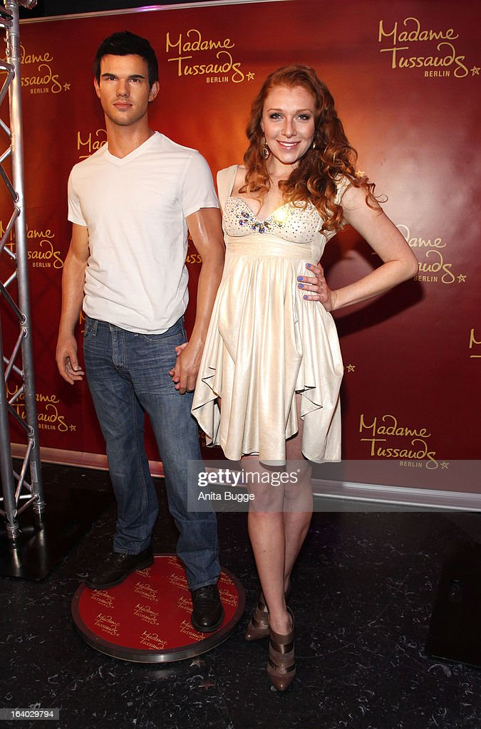Georgina Fleur unveils the Taylor Lautner wax figure at Madame Tussaud Berlin on March 19, 2013 in Berlin, Germany.