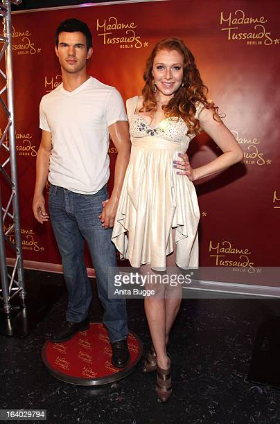 Georgina Fleur unveils the Taylor Lautner wax figure at Madame Tussaud Berlin on March 19 2013 in Berlin Germany