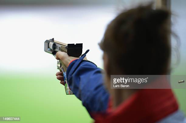 Georgina Geikie of Great Britain competes in the Women's 25m Pistol Shooting qualification on Day 5 of the London 2012 Olympic Games at The Royal...