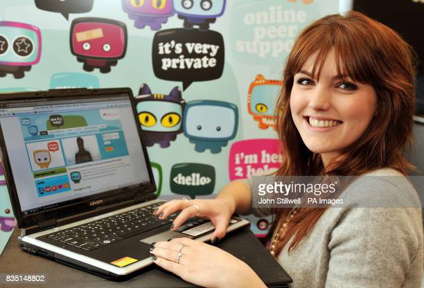 Georgina Hagen star of the TV show Britannia High views the Cyber Mentors website at the launch in central London The programme aims to tackle Cyber...