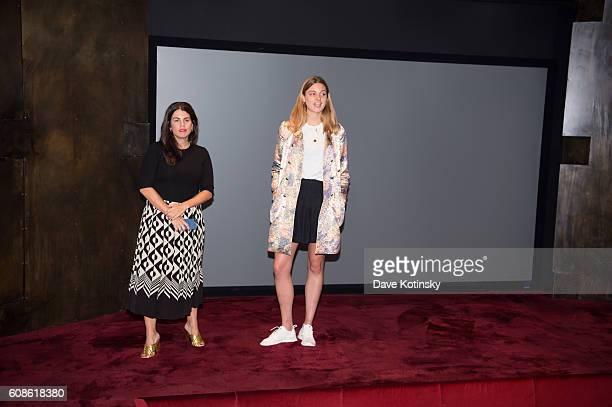 Georgina Harding and Fernanda Abdalla speak at the Daniel Arsham 'Colorblind Artist In Full Color' at Spring Place on September 19 2016 in New York...