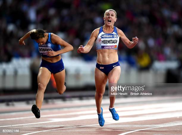 Georgina Hermitage of Great Britain celebrates winning gold in the final of the womens 100m T37 on day nine of the IPC World ParaAthletics...