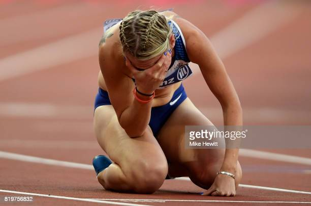 Georgina Hermitage of Great Britain celebrates winning the Women's 400m T37 Final during day seven of the IPC World ParaAthletics Championships 2017...