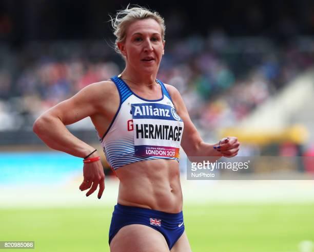 Georgina Hermitage of Great Britain competing Women's 100m T37 Round 1 Heat 1 during World Para Athletics Championships at London Stadium in London...