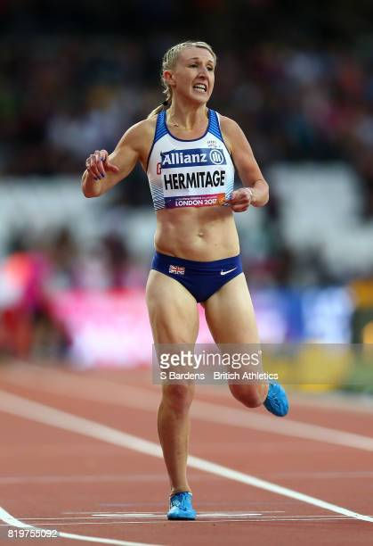 Georgina Hermitage of Great Britain crosses the line to win the Women's 400m T37 Final during day seven of the IPC World ParaAthletics Championships...