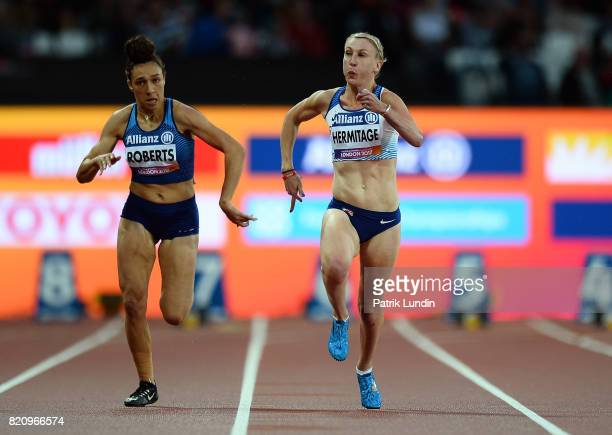 Georgina Hermitage of Great Britain in action during the final of the womens 100m T37 on day nine of the IPC World ParaAthletics Championships 2017...