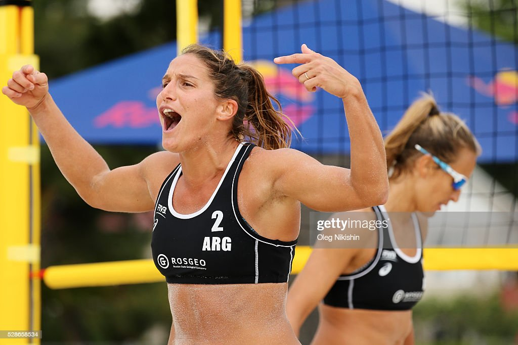 Georgina Klug of Argentina celebrates a point during day 4 of FIVB Sochi Open presented by VTB on May 6, 2016 in Sochi, Russia.