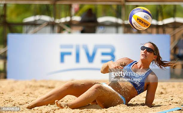 Georgina Klug of Argentina dives for the ball during a match between Argentina and Venezuela as part of FIVB Parana Open on October 29 2014 in Parana...