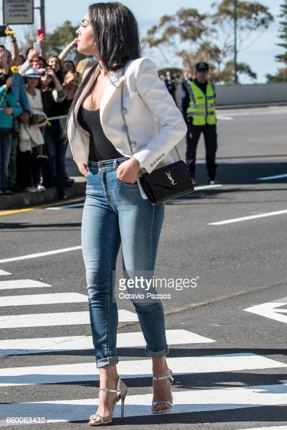 Georgina Rodriguez during the ceremony at Madeira Airport to rename it Cristiano Ronaldo Airport on March 29 2017 in Santa Cruz Madeira Portugal