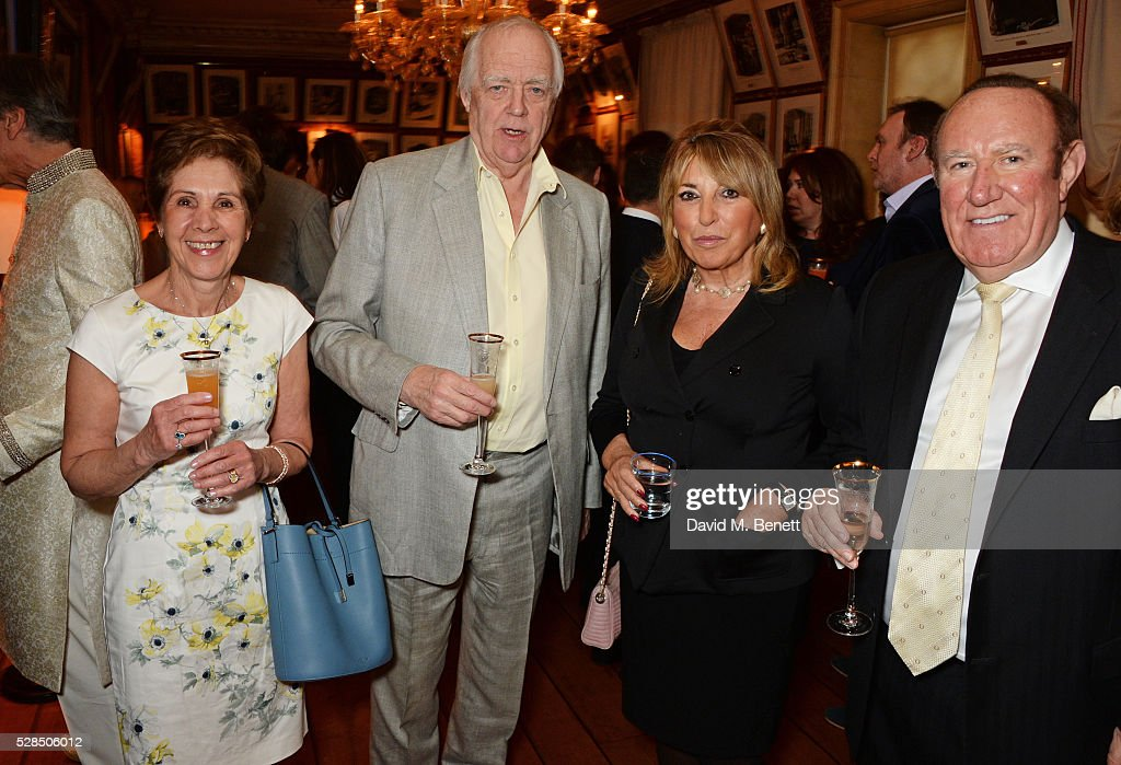 Georgina Simpson, Sir Tim Rice, Eve Pollard and Andrew Neil attend the launch of Dame Joan Collins' new book 'The St. Tropez Lonely Hearts Club' at Harry's Bar on May 5, 2016 in London, England.