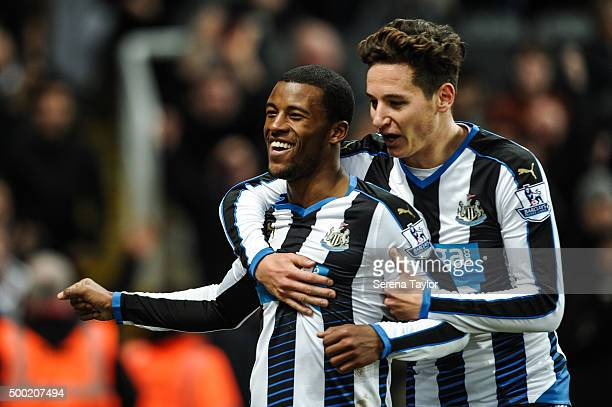 Georgina Wijnaldum of Newcastle celebrates with Florian Thauvin after scoring his second goal during the Barclays Premier League match between...