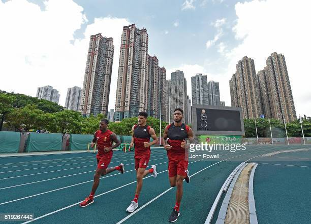 Georginio Wijnaldum Dominic Solanke and Joe Gomez of Liverpool during a training session on July 20 2017 in Hong Kong Hong Kong