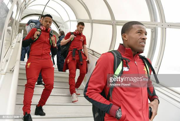 Georginio Wijnaldum James Milner and Nathaniel Clyne of Liverpool arriving at Munich International Airport for the pre season training camp on July...