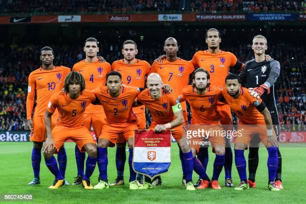 Georginio Wijnaldum of Holland Karim Rekik of Holland Vincent Janssen of Holland Ryan Babel of Holland Virgil van Dijk of Holland goalkeeper Jasper...