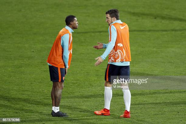 Georginio Wijnaldum of Holland Kevin Strootman of Hollandduring a training session prior to the FIFA World Cup 2018 qualifying match between Bulgaria...
