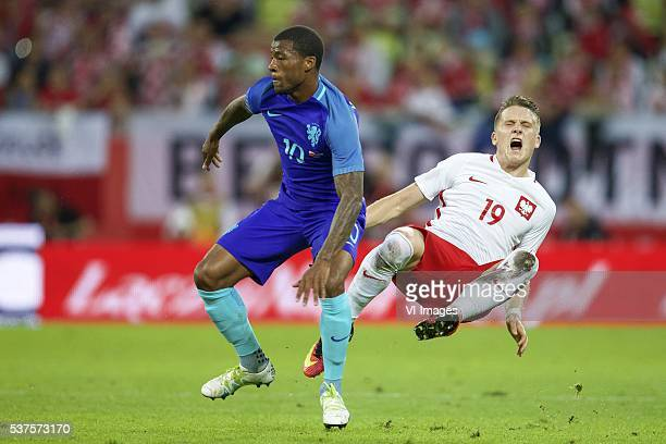 Georginio Wijnaldum of Holland Piotr Zielinski of Poland during the International friendly match between Poland and Netherlands on June 1 2016 at the...