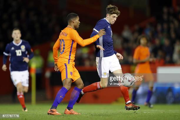 Georginio Wijnaldum of Holland Ryan Christie of Scotland during the friendly match between Scotland and The Netherlands on November 09 2017 at...
