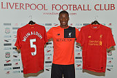 Georginio Wijnaldum of Liverpool after signing his contract at Melwood Training Ground on July 22 2016 in Liverpool England