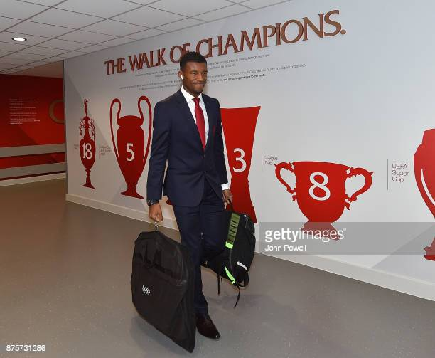 Georginio Wijnaldum of Liverpool arriving for the Premier League match between Liverpool and Southampton at Anfield on November 18 2017 in Liverpool...