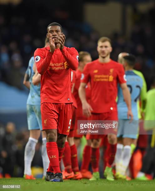 Georginio Wijnaldum of Liverpool at the end of the Premier League match between Manchester City and Liverpool at Etihad Stadium on March 19 2017 in...
