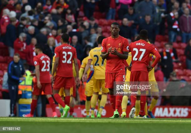 Georginio Wijnaldum of Liverpool at the end of the Premier League match between Liverpool and Crystal Palace at Anfield on April 23 2017 in Liverpool...
