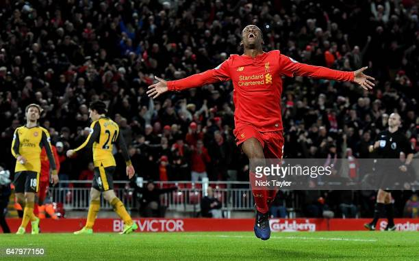 Georginio Wijnaldum of Liverpool Celebrates after his winning goal during the Premier League match between Liverpool and Arsenal at Anfield on March...