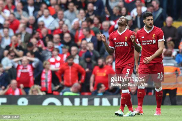 Georginio Wijnaldum of Liverpool celebrates after scoring a goal to make it 10 during the Premier League match between Liverpool and Middlesbrough at...