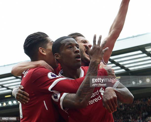 Georginio Wijnaldum of Liverpool celebrates his goal during the Premier League match between Liverpool FC and Middlesbrough FC at Anfield on May 21...