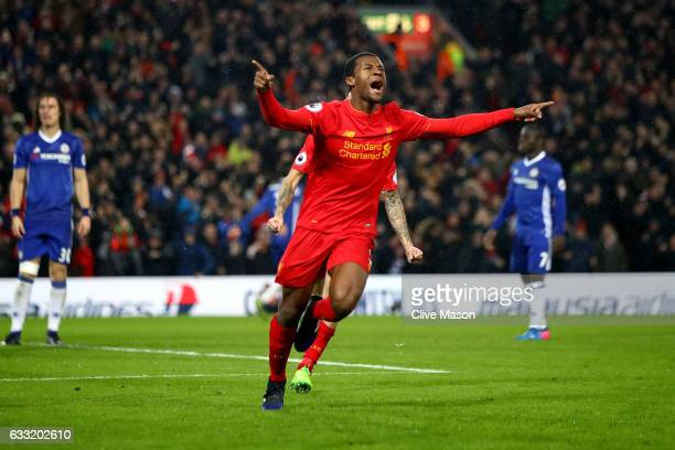 Georginio Wijnaldum of Liverpool celebrates scoring his side's first goal to make it 11 during the Premier League match between Liverpool and Chelsea...