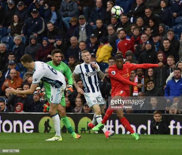 Georginio Wijnaldum of Liverpool crosses the ball in during the Premier League match between West Bromwich Albion and Liverpool at The Hawthorns on...