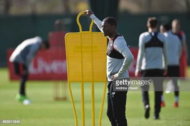 Georginio Wijnaldum of Liverpool during a training session at Melwood Training Ground on March 15 2017 in Liverpool England