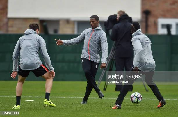 Georginio Wijnaldum of Liverpool during a training session at Melwood Training Ground on March 17 2017 in Liverpool England