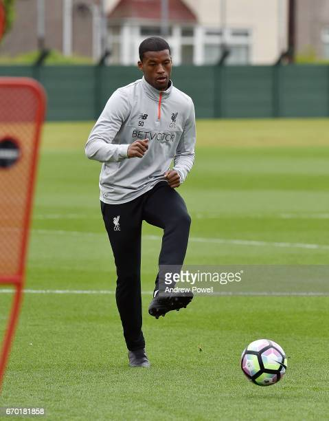 Georginio Wijnaldum of Liverpool during a training session at Melwood Training Ground on April 19 2017 in Liverpool England