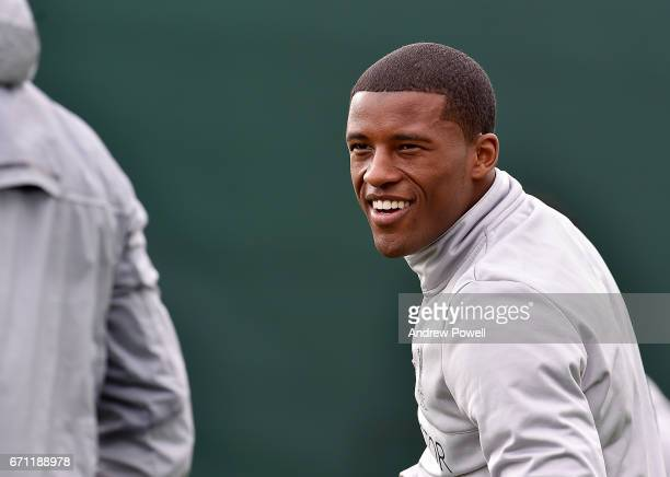 Georginio Wijnaldum of Liverpool during a training session at Melwood Training Ground on April 21 2017 in Liverpool England
