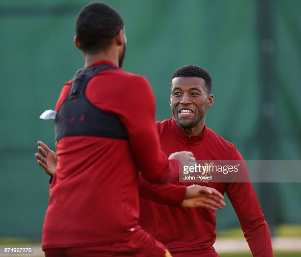Georginio Wijnaldum of Liverpool during a training session at Melwood Training Ground on November 16 2017 in Liverpool England