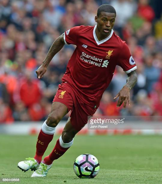 Georginio Wijnaldum of Liverpool during the Premier League match between Liverpool FC and Middlesbrough FC at Anfield on May 21 2017 in Liverpool...
