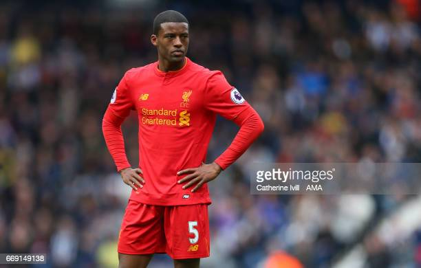 Georginio Wijnaldum of Liverpool during the Premier League match between West Bromwich Albion and Liverpool at The Hawthorns on April 16 2017 in West...