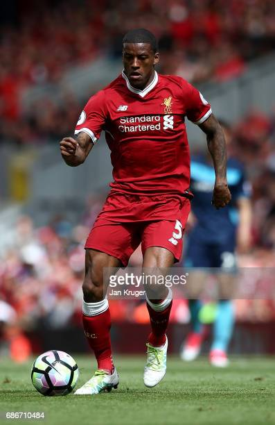 Georginio Wijnaldum of Liverpool during the Premier League match between Liverpool and Middlesbrough at Anfield on May 21 2017 in Liverpool England