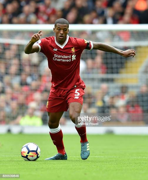 Georginio Wijnaldum of Liverpool during the Premier League match between Liverpool and Crystal Palace at Anfield on August 19 2017 in Liverpool...