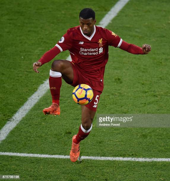 Georginio Wijnaldum of Liverpool during the Premier League match between Liverpool and Southampton at Anfield on November 18 2017 in Liverpool England