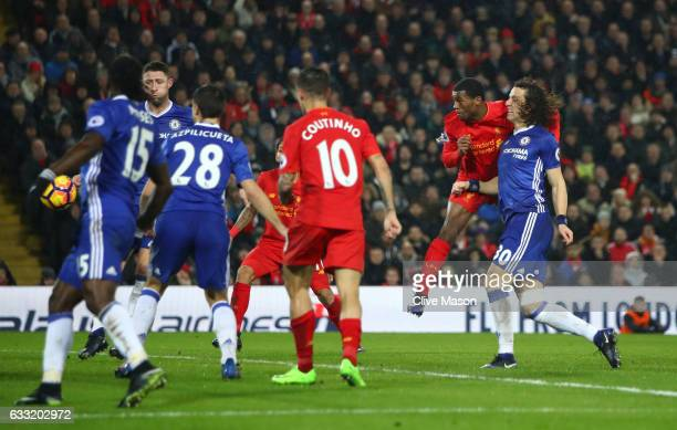 Georginio Wijnaldum of Liverpool heads to score his side's first goal to make it 11 during the Premier League match between Liverpool and Chelsea at...