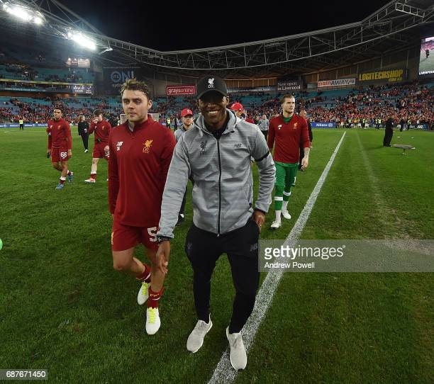 Georginio Wijnaldum of Liverpool laughing at the end of the International Friendly match between Sydney FC and Liverpool FC at ANZ Stadium on May 24...