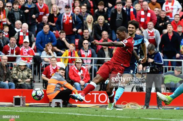 Georginio Wijnaldum of Liverpool scores during the Premier League match between Liverpool and Middlesbrough at Anfield on May 21 2017 in Liverpool...