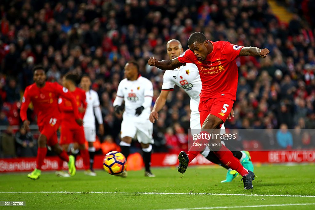 Georginio Wijnaldum of Liverpool scores his sides sixth goal during the Premier League match between Liverpool and Watford at Anfield on November 6, 2016 in Liverpool, England.