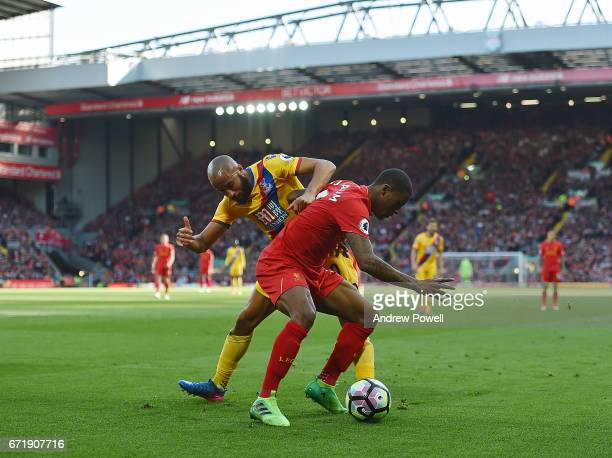 Georginio Wijnaldum of Liverpool with Andros Townsend of Crystal Palace during the Premier League match between Liverpool and Crystal Palace at...