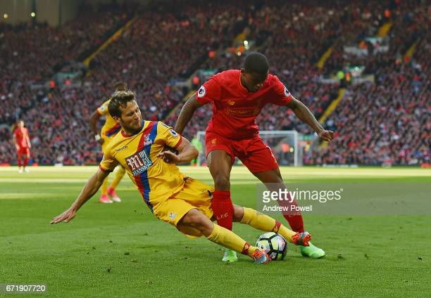 Georginio Wijnaldum of Liverpool with Joel Ward of Crystal Palace during the Premier League match between Liverpool and Crystal Palace at Anfield on...