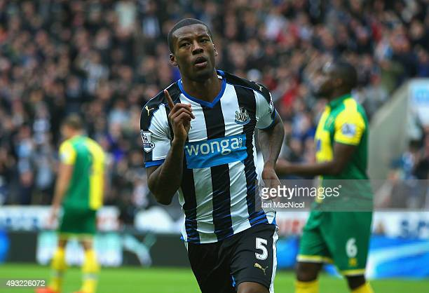 Georginio Wijnaldum of Newcastle United celebrates as he scores the opening goal during the Barclays Premier League match between Newcastle United...