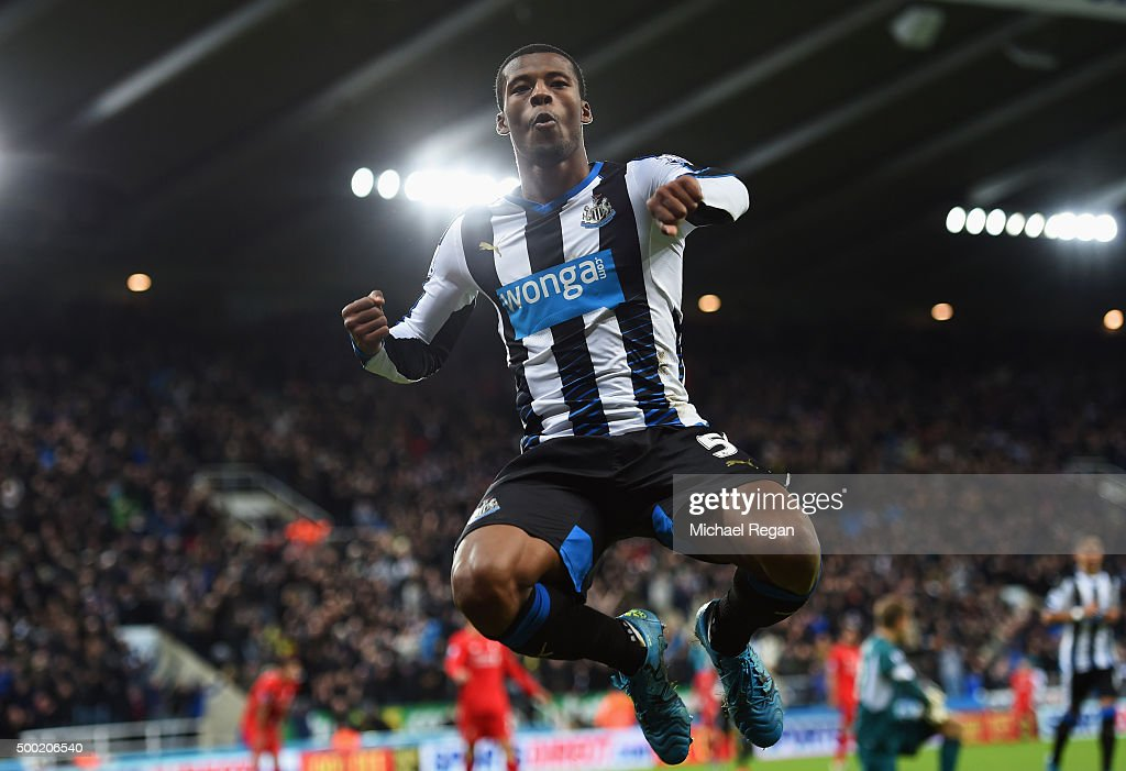 Georginio Wijnaldum of Newcastle United celebrates as he scores their second goal during the Barclays Premier League match between Newcastle United and Liverpool at St James' Park on December 6, 2015 in Newcastle upon Tyne, England